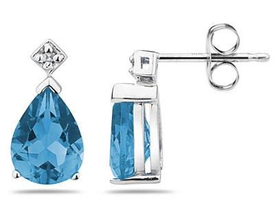 1 1/2 Carat Pear Shaped Blue Toapz & Diamond Earrings in 10k White Gold