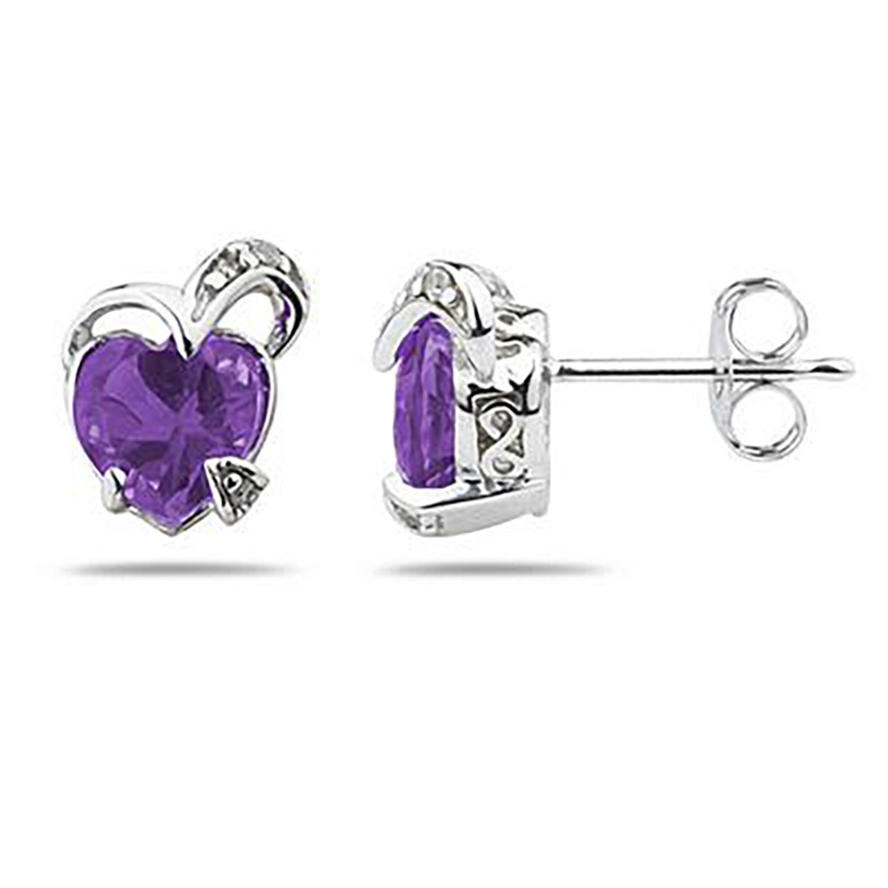 1 1/2 Carat TW Heart Shape Amethyst & Diamond Earrings in 14K White Gold