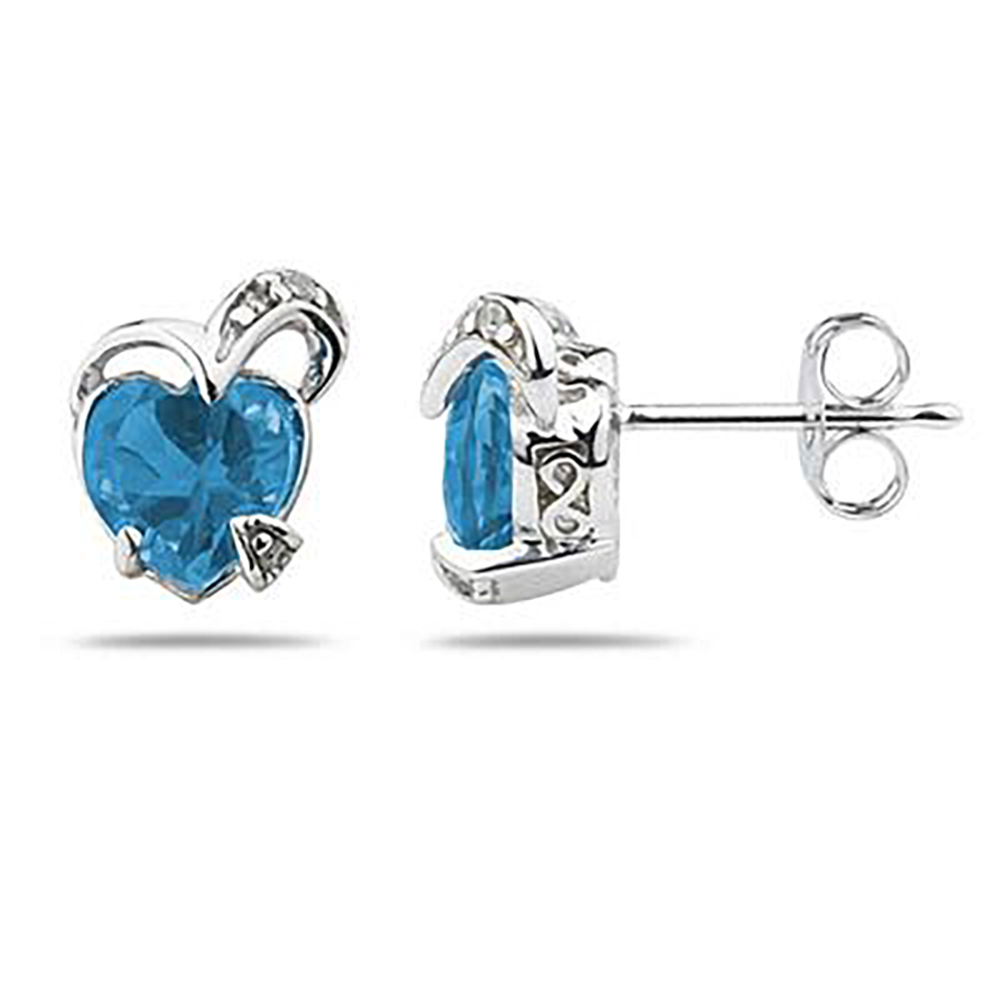 1 1/2 Carat TW Heart Shape Blue Topaz & Diamond Earrings in 14K White Gold
