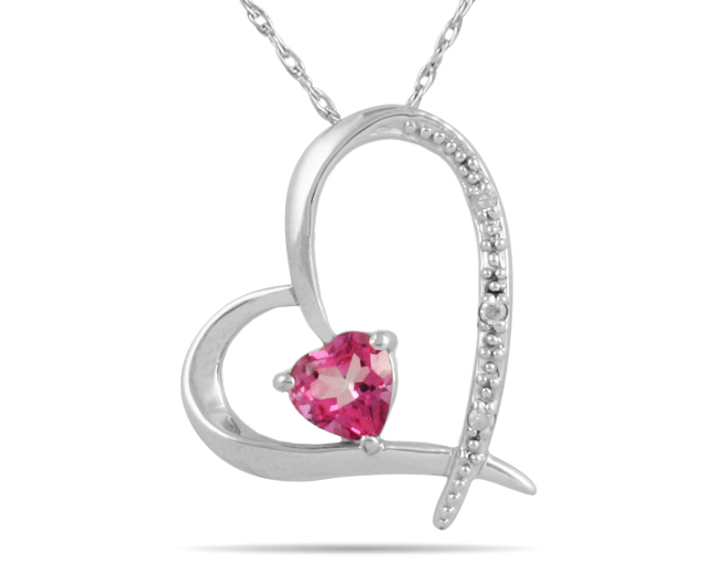Pendants Necklaces-Pink Topaz Heart and Diamond Pendant in 14K White Gold