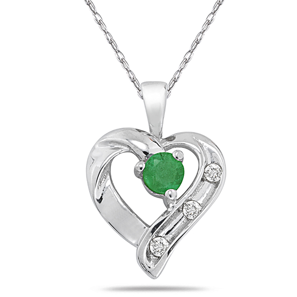 All Natural Emerald and Diamond Heart Pendant