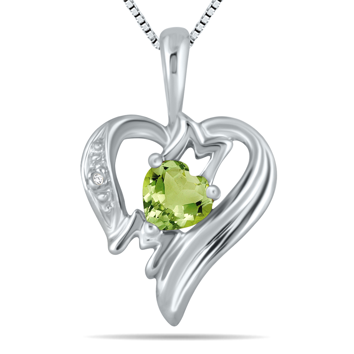Peridot and Diamond Heart...