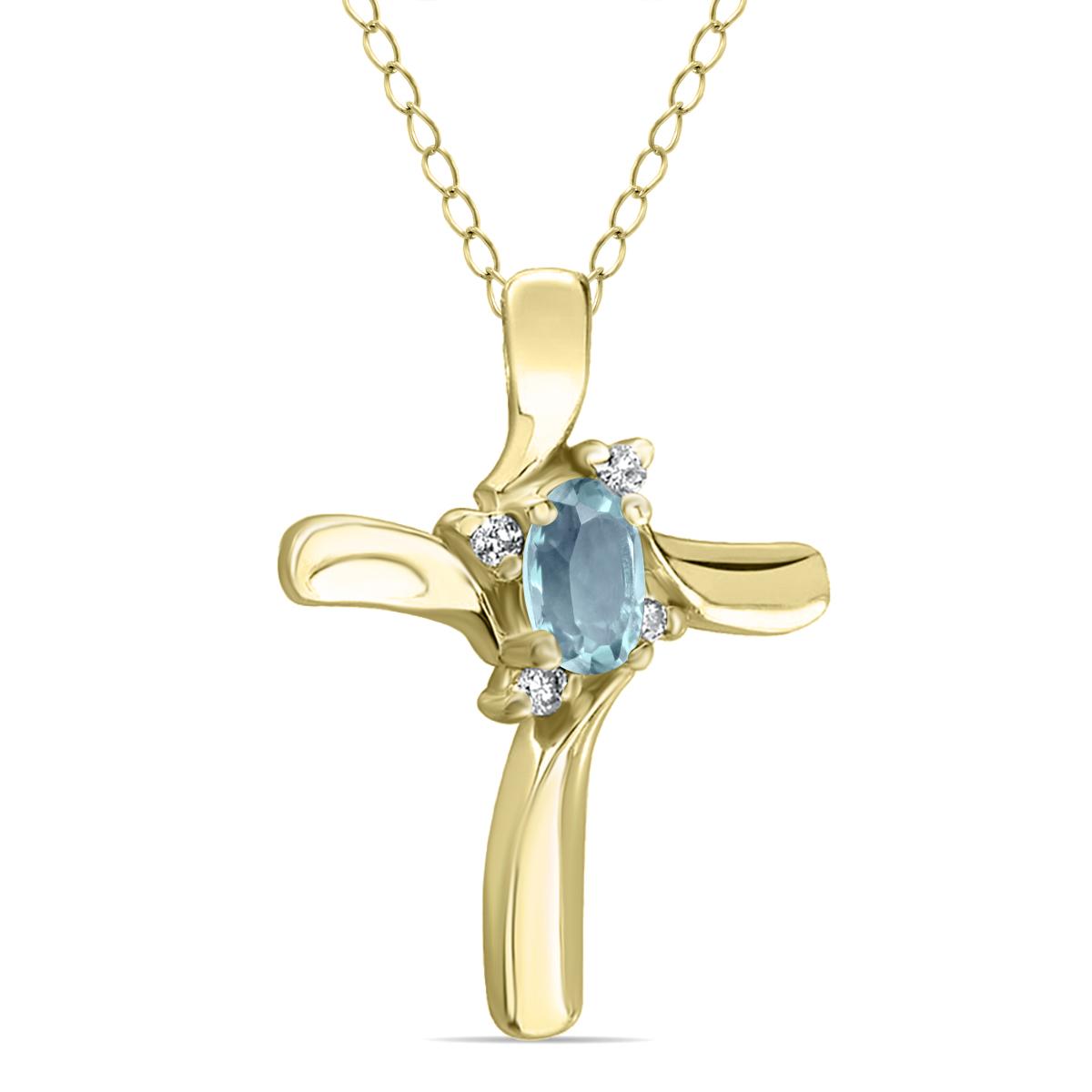 Aquamarine Cross Diamond Pendant 10k Yellow Gold SPP52008AQ