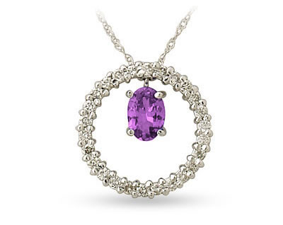 Diamond and amethyst drop circle pendant