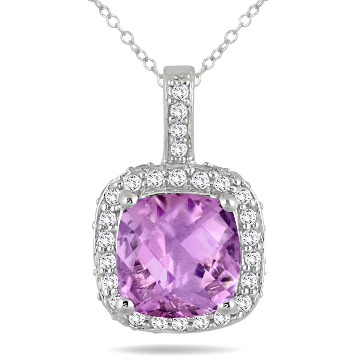 1.50 Carat Cushion Amethyst and Diamond Halo Pendant in 14K White Gold