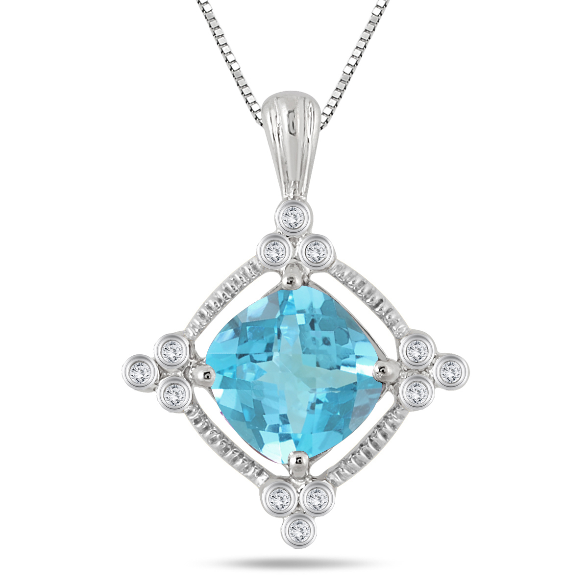 3.65 Carat Cushion Blue Topaz and Diamond Royal Rope Pendant in .925 Sterling Silver