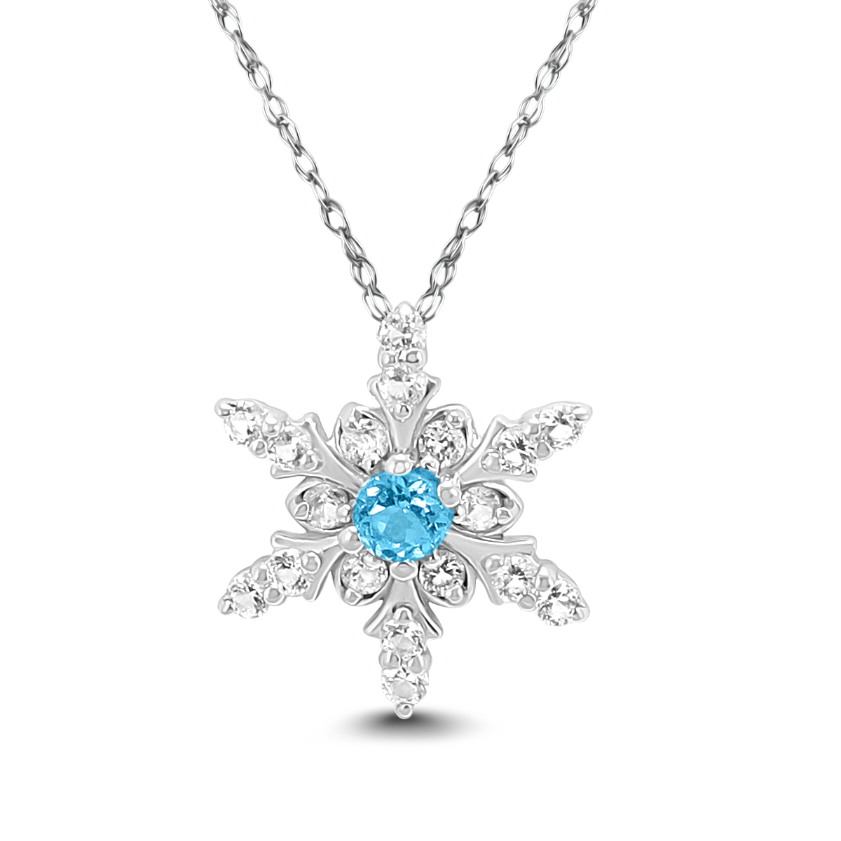 A stunning snowflake pendant set with natural white topaz gemstones along with a center genuine blue topaz. The pendant is crafted in .925 sterling silver and hangs from an 18 inch chain. A sparkling beauty sure to be treasured forever.