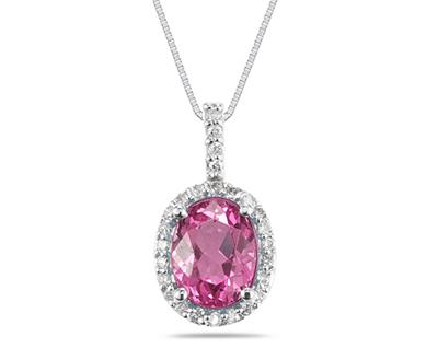 2 1/2 Carat Pink Topaz and Diamond Pendant in 14K White Gold
