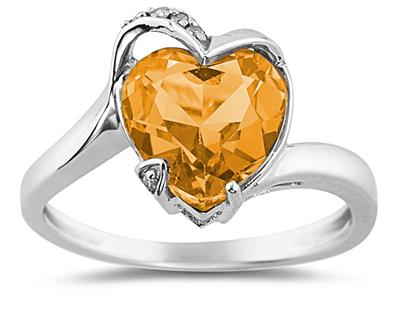 Heart Shaped Citrine and Diamond Curve Ring in 14K White Gold