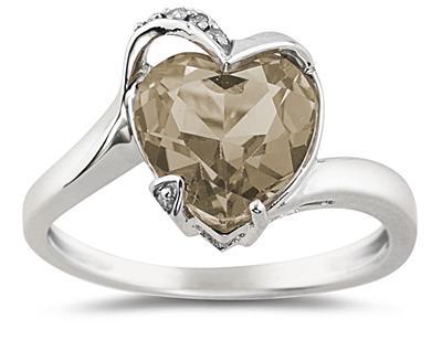 Heart Shaped Smokey Quartz and Diamond Ring in 14K White Gold