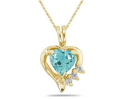 Heart Shape Aquamarine & Diamond Pendant in Yellow Gold SPP7883AQ