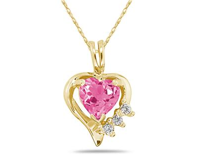 Heart Shape Pink Topaz & Diamond Pendant