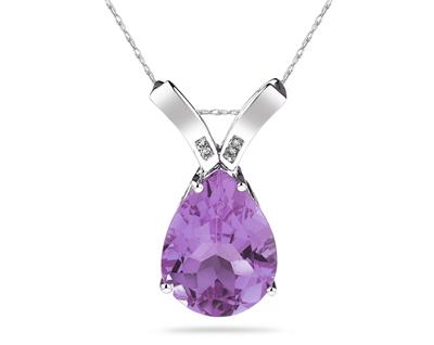 10 1/4 Carat Pear Shaped Amethyst & Diamond Pendant in 10K White Gold