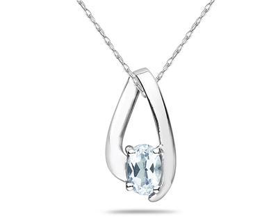 Aquamarine Loop Pendant Necklace 10K White Gold