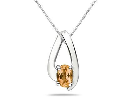 Citrine Loop Pendant Necklace 10K White Gold