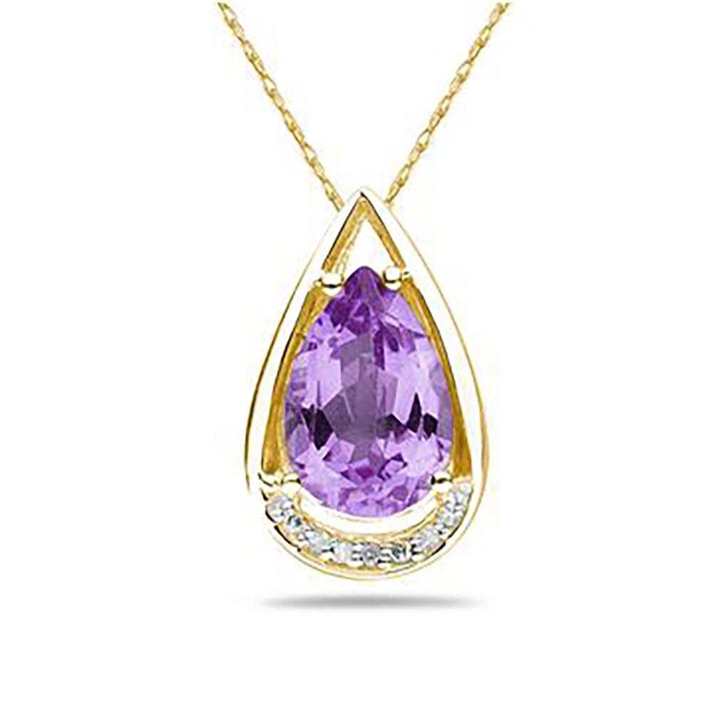 Pear shape amethyst and diamond pendant