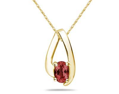 Garnet Loop Pendant Necklace 10K Yellow Gold