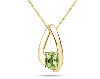Peridot Loop Pendant Necklace 10K Yellow Gold