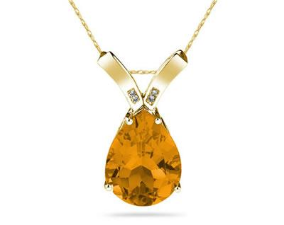 10 1/4 Carat Pear Shaped Citrine & Diamond Pendant in 10K Yellow Gold