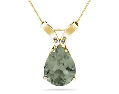 10 1/4 Carat Pear Shaped Green Amethyst & Diamond Pendant in 10K Yellow Gold