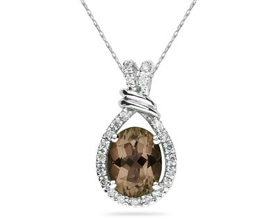 Oval Shaped Smokey Quartz and Diamonds Pendant in 14k White Gold