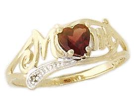 szul.com Garnet and Diamond Heart Shaped MOM Ring at Sears.com