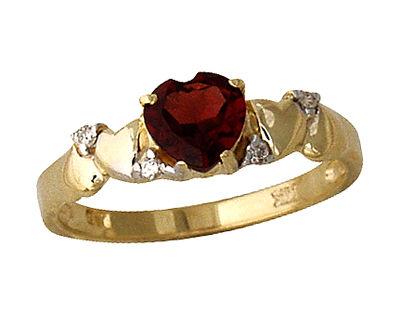 Garnet and Diamond Heart Ring in 14K Yellow Gold