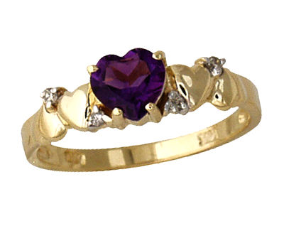 Amethyst and Diamond Heart Ring 14K Yellow Gold
