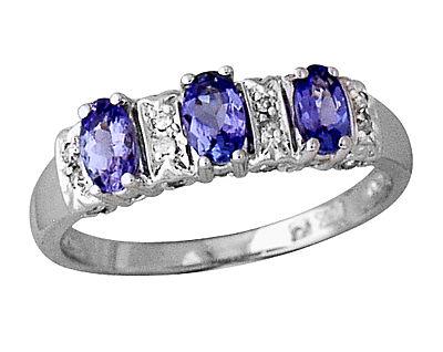 Three Stone Tanzanite and Diamond Ring 14kt White Gold