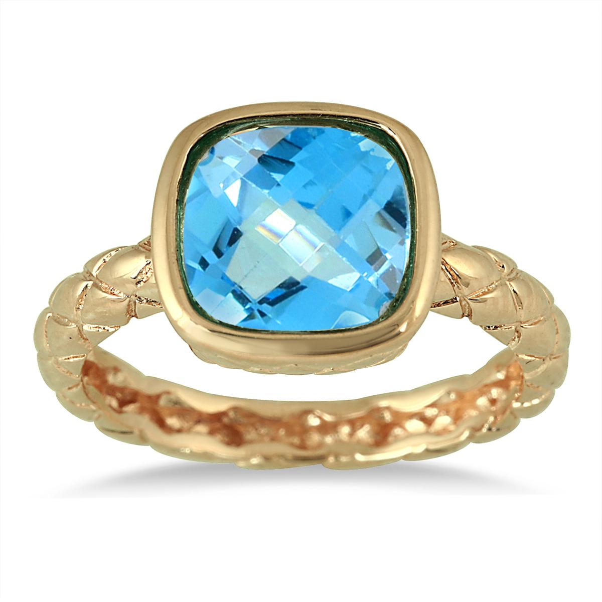 szul.com 3.00 Carat Cushion Cut Blue Topaz ring in 18K Gold Plated Brass at Sears.com