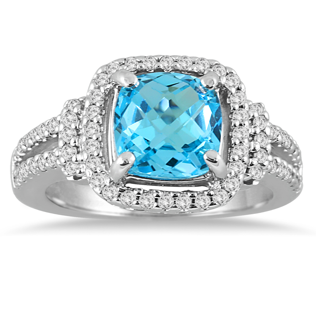 A dazzling cushion cut Blue Topaz center stone is surrounded by 62 sparkling prong set diamonds weighing 0.46 carats, color J-K-L, clarity I2-I3. This fabulous ring is crafted in smooth 10K white gold. Center Blue Topaz measures 8MM in diameter and weighs approximately 2.65 carat. Top of the line workmanship, an natural blue topaz, genuine diamonds and gold combine to make this a quality ring guaranteed to last forever.
