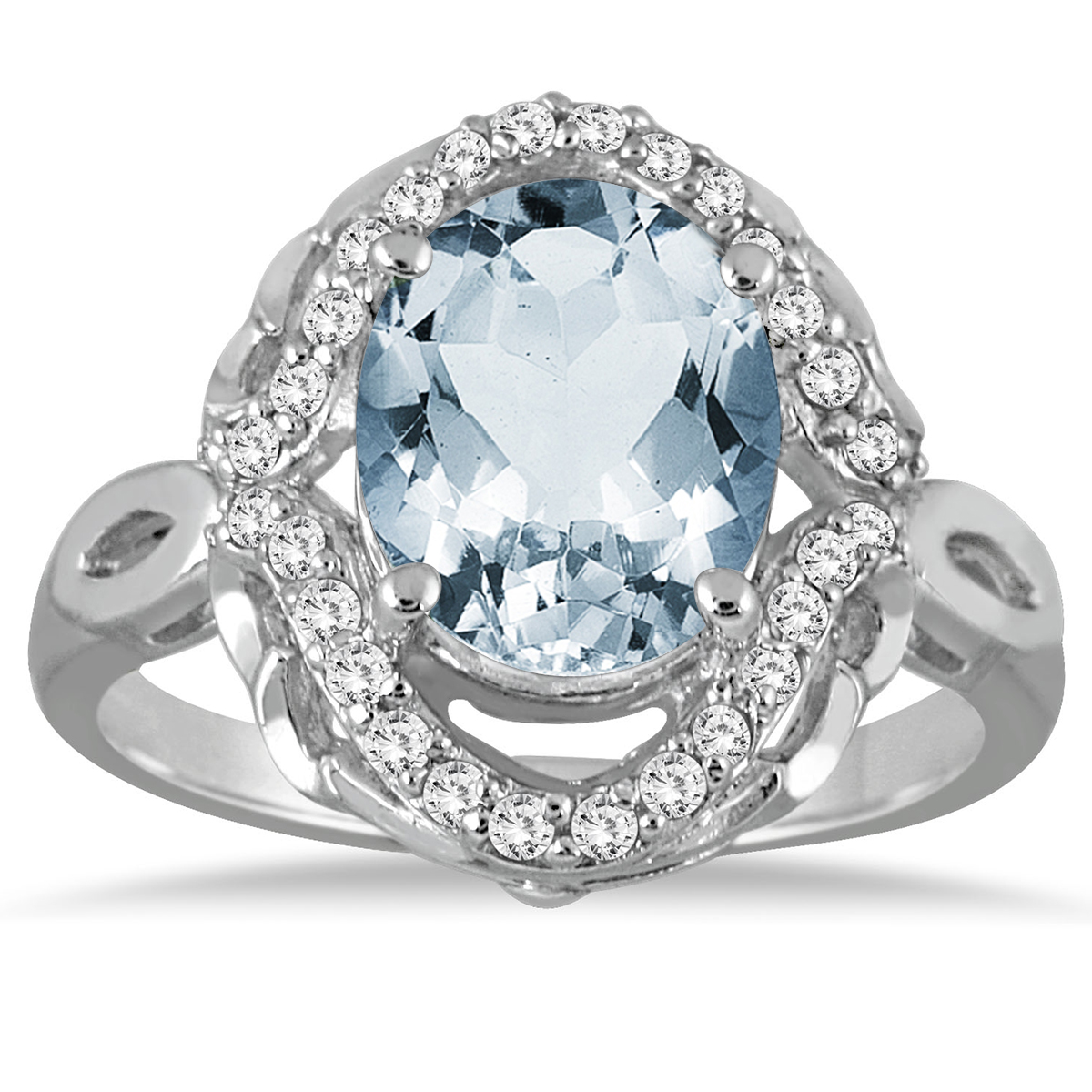 carat oval aquamarine and diamond ring in 10k white. Black Bedroom Furniture Sets. Home Design Ideas