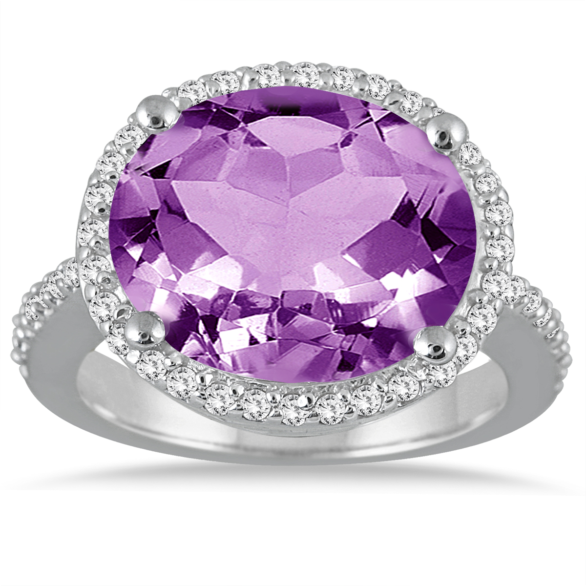 8 Carat Oval Amethyst and Diamond Ring in 14K White Gold