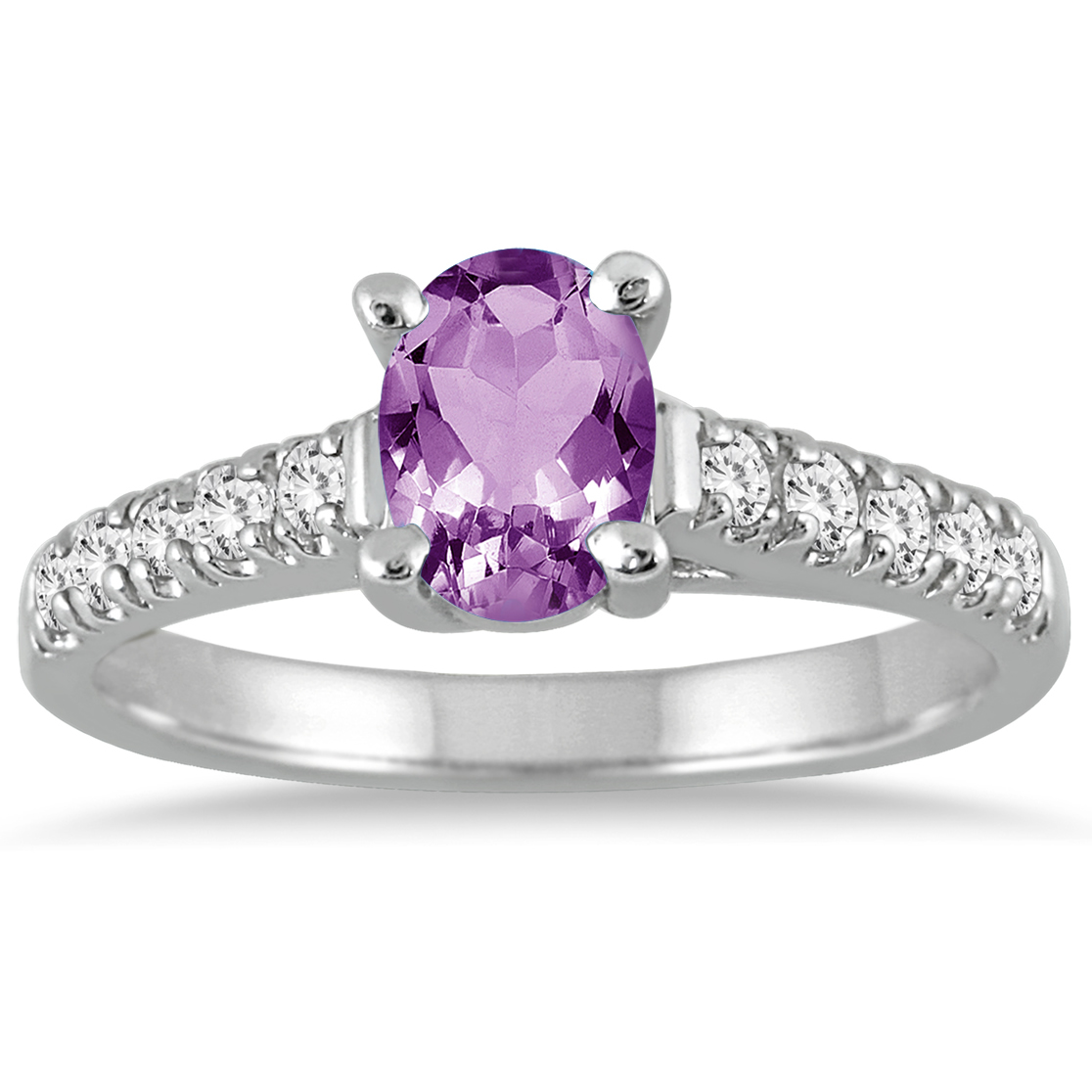 1 Carat Oval Amethyst and Diamond Ring in 14K White Gold