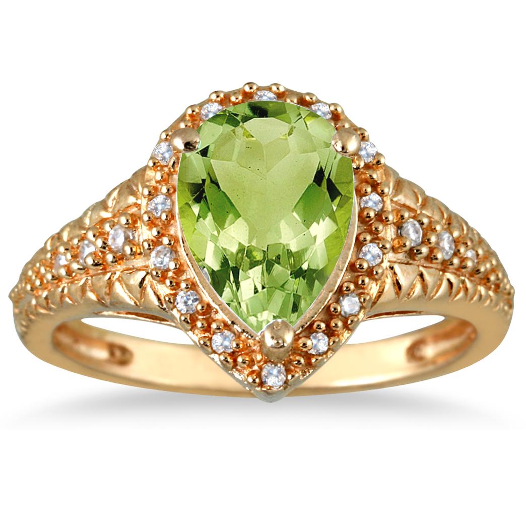 szul.com 2.00 Carat Pear Shaped Peridot  and Diamond Ring in 10K Yellow Gold at Sears.com