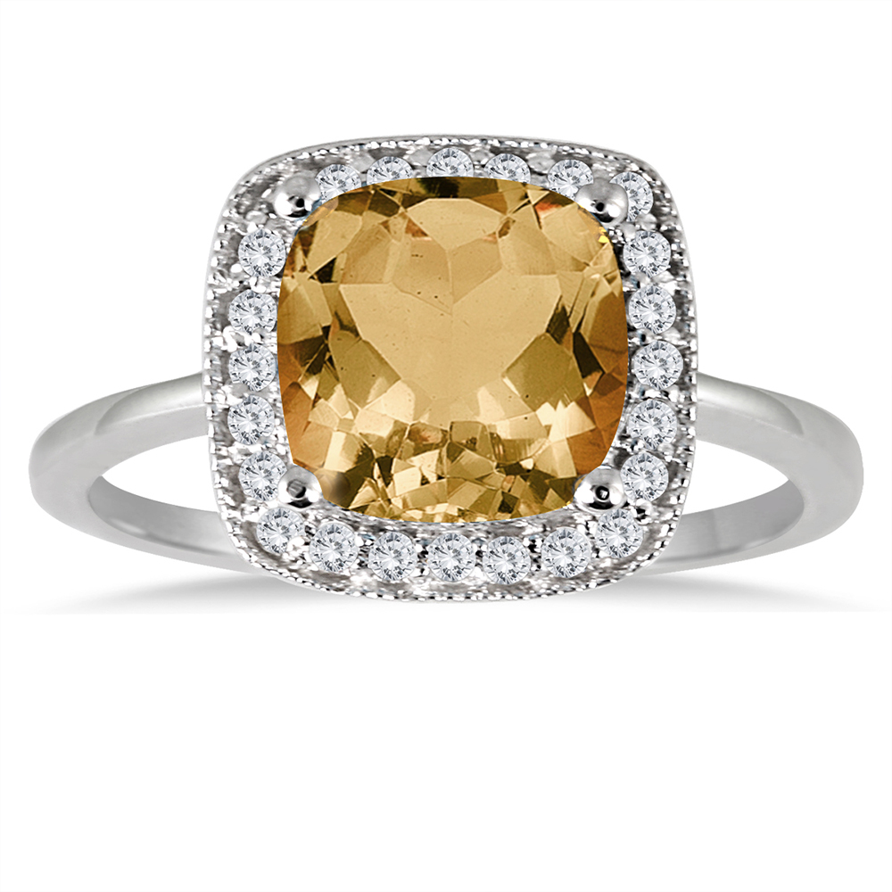 1 1/4 Carat Cushion Cut Citrine and Diamond Ring in 14K White Gold