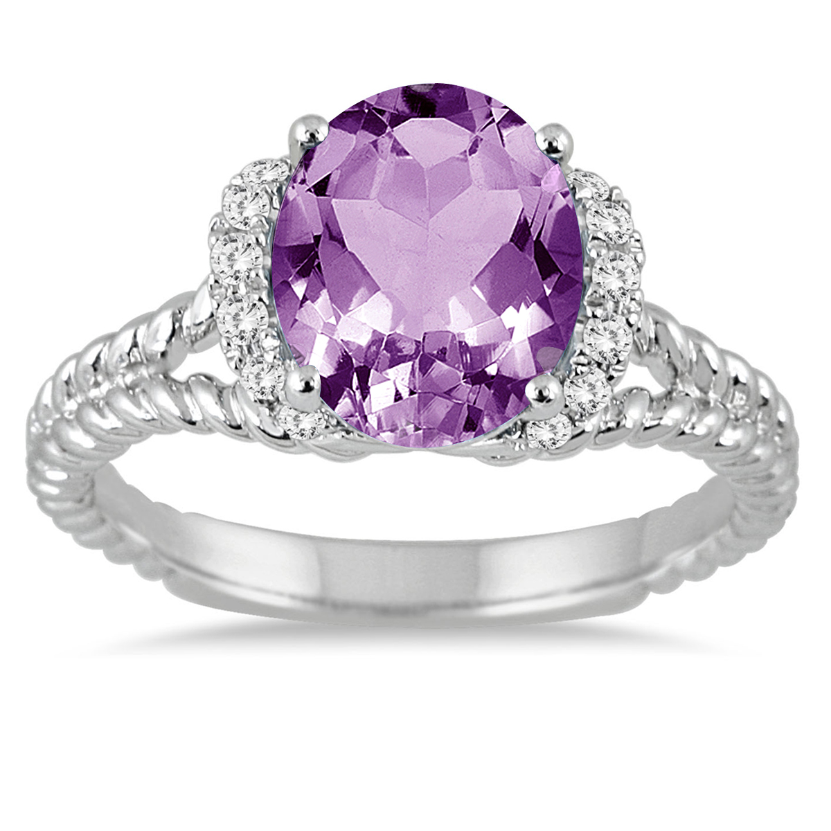2 1/4 Carat Oval Amethyst and Diamond Ring in 14K White Gold