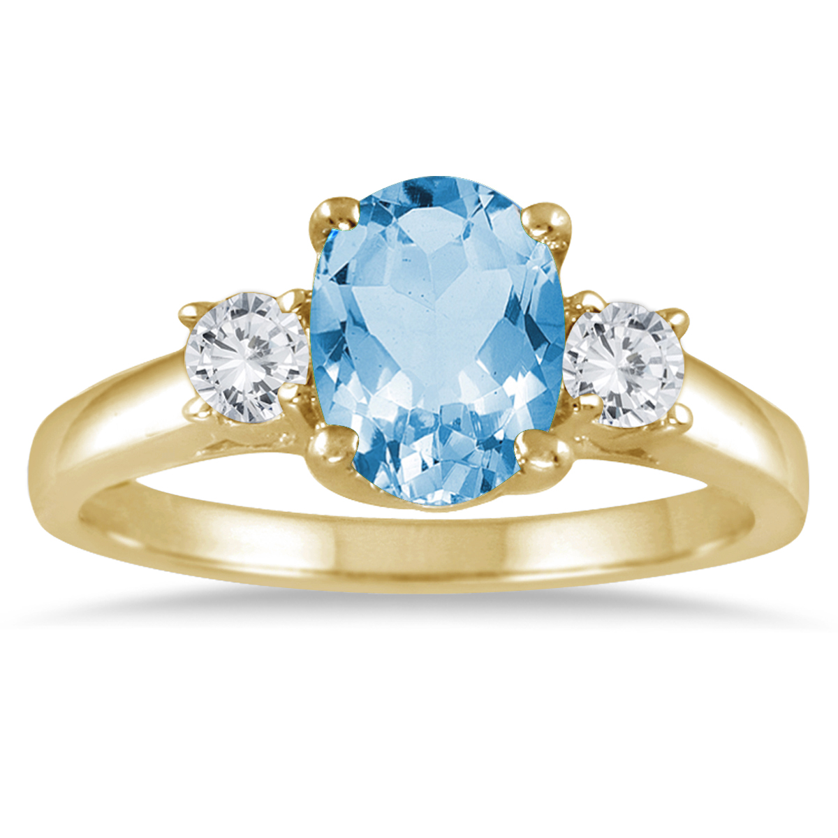 1 3/4 Carat Blue Topaz and Diamond Three Stone Ring 14K Yellow Gold