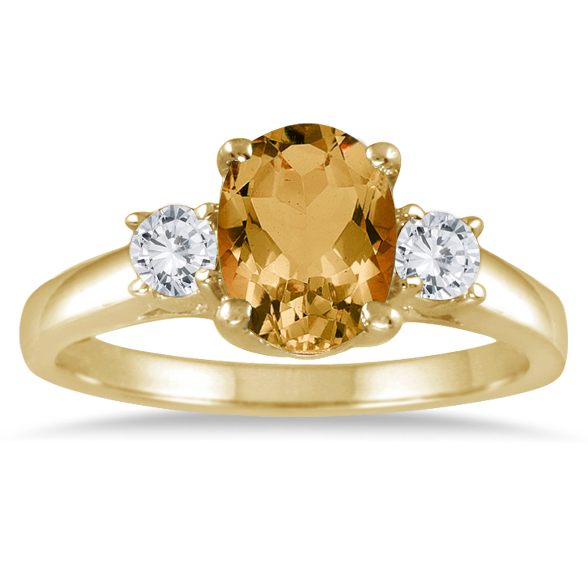1 3/4 Carat Citrine and Diamond Three Stone Ring 14K Yellow Gold