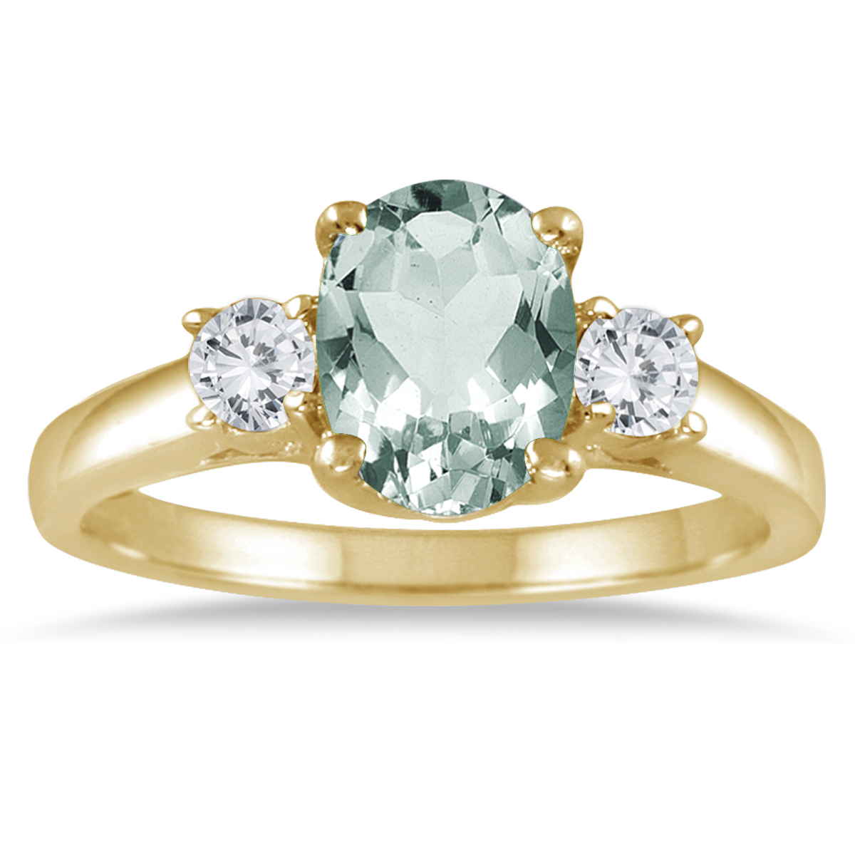 1 3/4 Carat Green Amethyst and Diamond Three Stone Ring 14K Yellow Gold