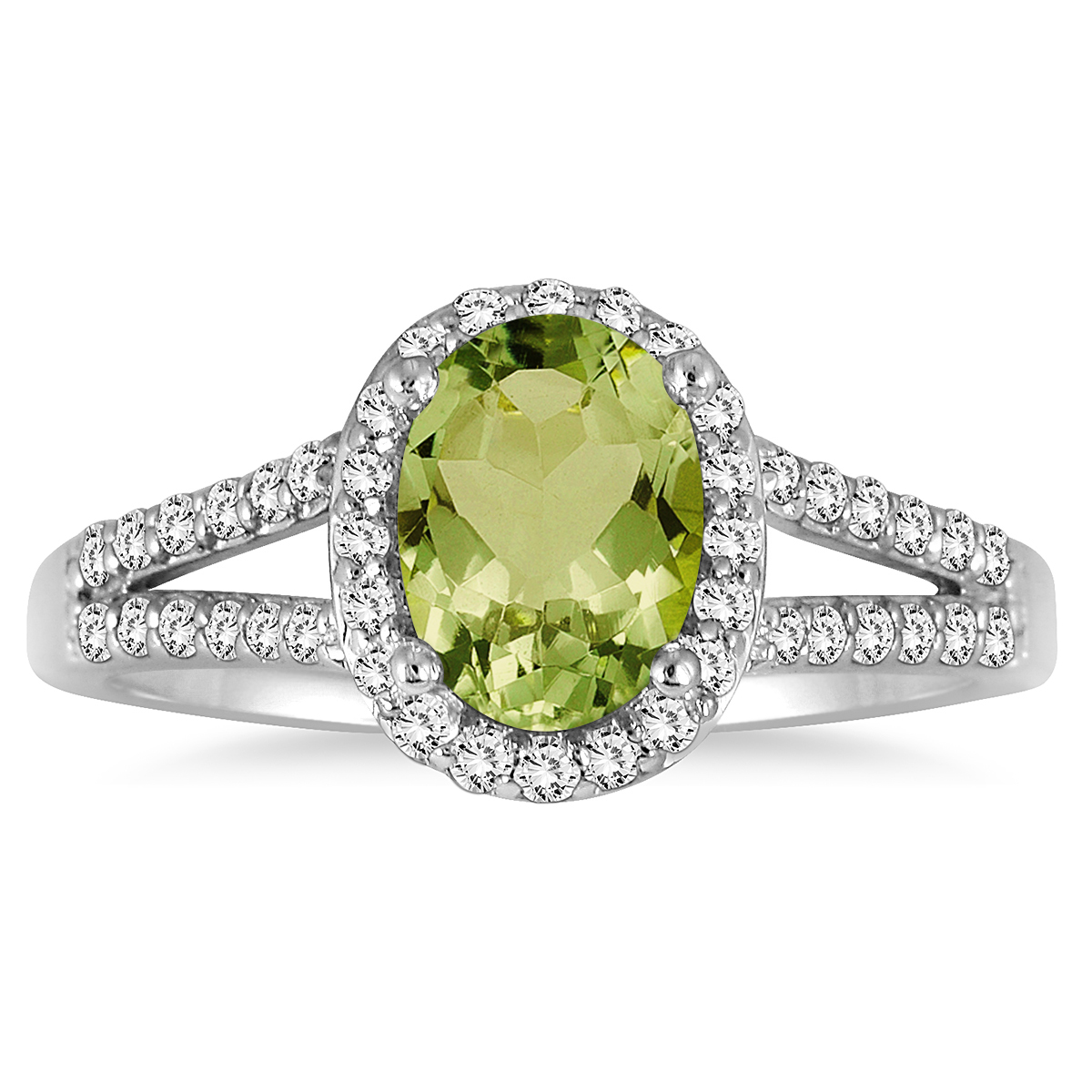 1 1/4 Carat Oval Peridot and Diamond Ring in 10K White Gold