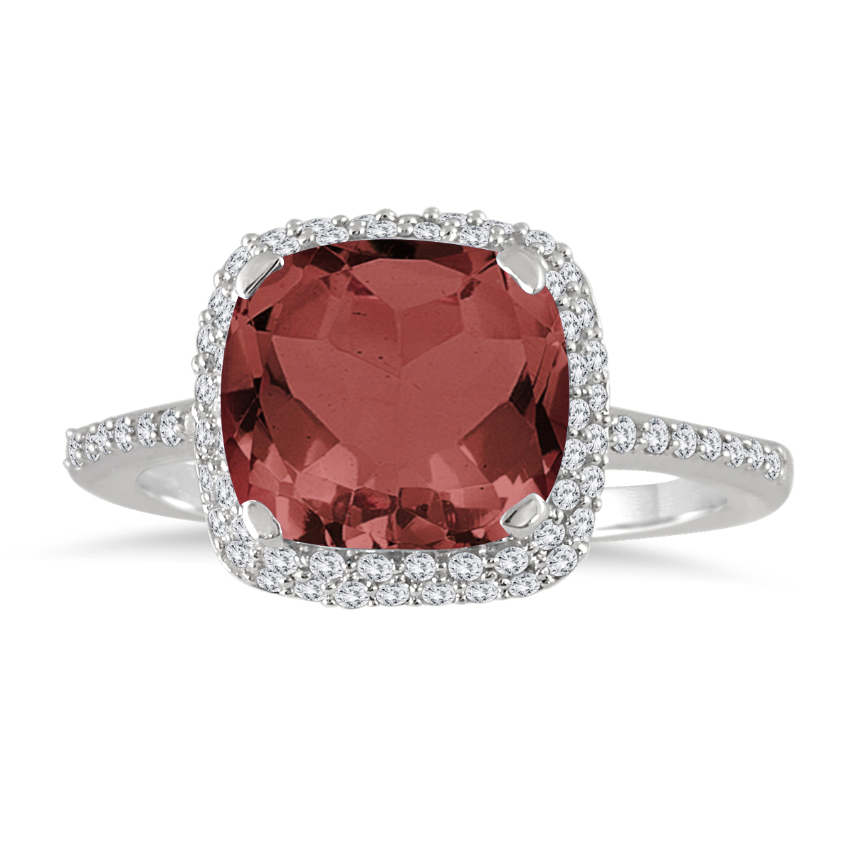 3 1/2 Carat Cushion Cut Garnet and