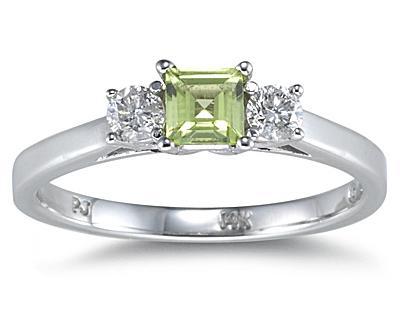 3 Stone Perdiot Ring 14K White Gold