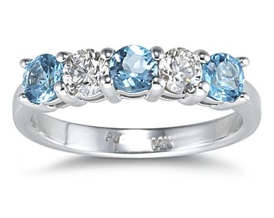 5 Stone Blue Topaz and...