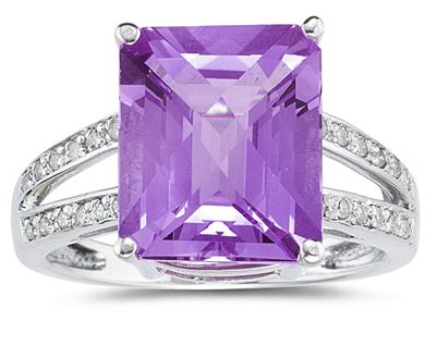 7 Carat Emerald Cut Amethyst and Diamond Ring 10k White Gold