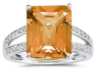 7 Carat Emerald Cut Citrine and Diamond Ring 10k White Gold