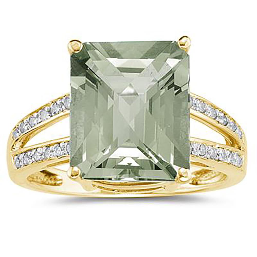 Emerald Cut Green Amethyst...