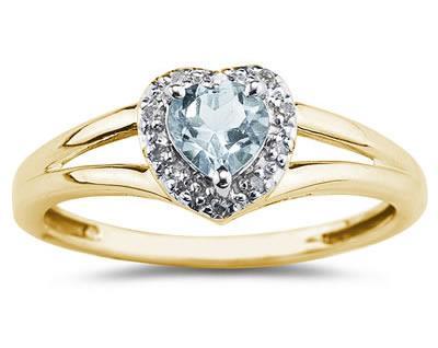 Heart Shaped Aquamarine And Diamond Ring, 10k Yellow Gold SPR8150AQ