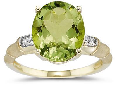 3.97 Carat Peridot and Diamond Ring in 14K Yellow Gold