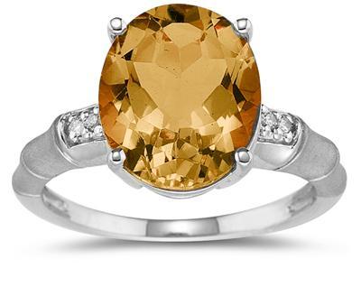 3.97 Carat Citrine and Diamond Ring in 14K White Gold